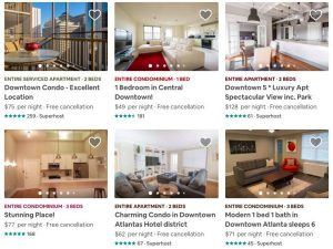 Atlanta Airbnb Availability Options Locations